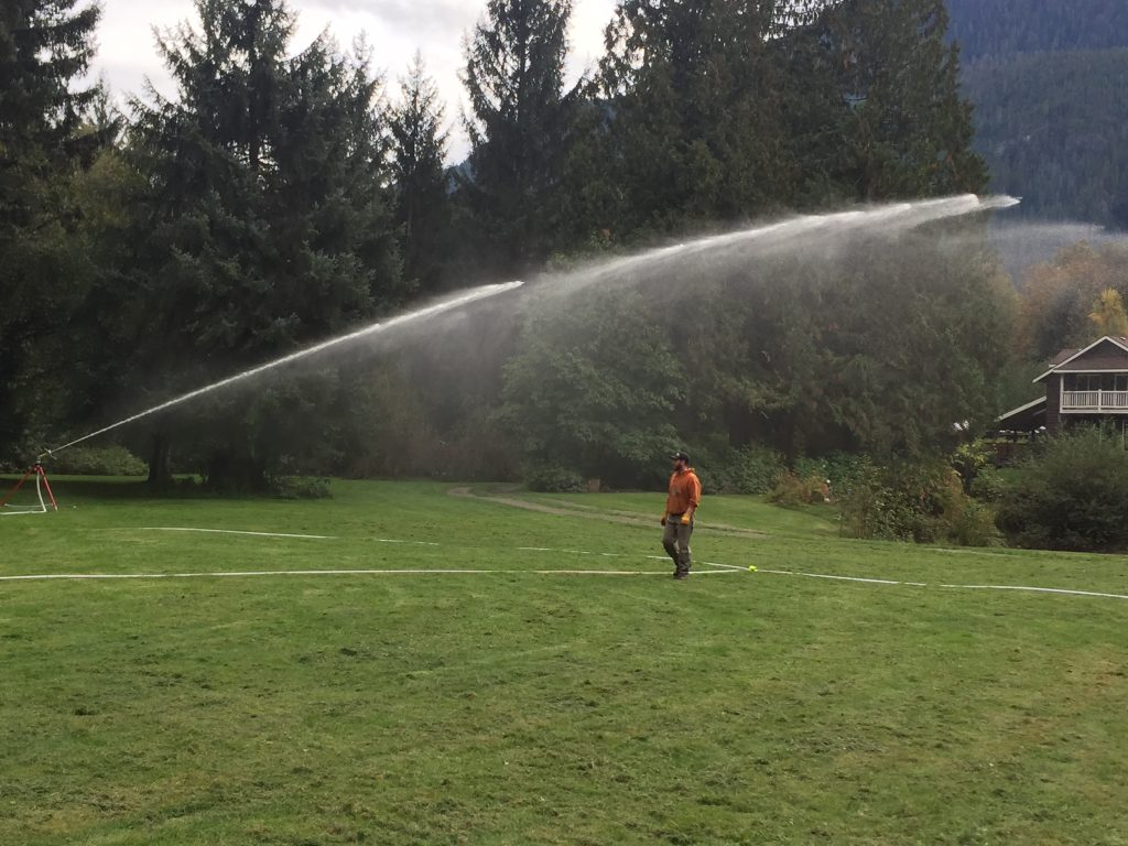 Raintower Sprinkler in use