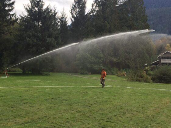 Raintower Sprinkler in use